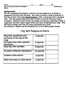Creating a Map:  City Park Playground Rubric