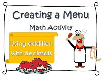 Creating a Menu- Addition using Money/Decimals