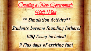 Creating a New Government: UNIT (5 days & DBQ ESSAY)