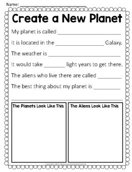 Create a Planet: Solar System Writing Activity