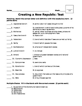 Creating a New Republic Test