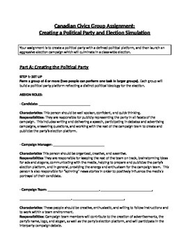 Creating a Political Party and Election Simulation