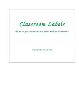 Creating a Print Rich Environment - Spanish/English Classroom Labels (Word Doc.)