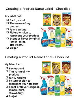 Creating a Product Name Label Checklist-Creating Advertisement-