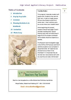 Creating a Publication High School Literacy Project