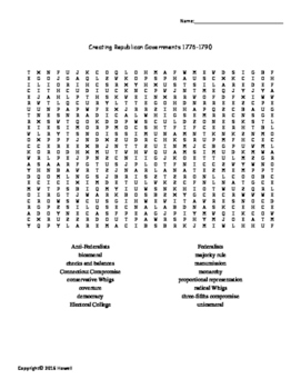 Creating a Republican Government Vocabulary Word Search fo