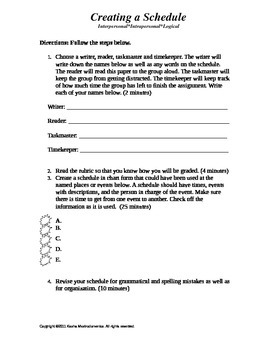 Creating a Schedule Activity Template and Rubric
