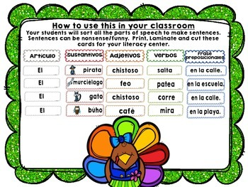 Creating a Sentence with Parts of Speech for NOVEMBER in SPANISH