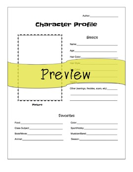 Short Story Character Profile Page