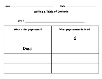 Creating a Table of Contents - Mammals Mini Book Activity