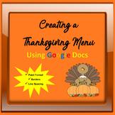 Creating a Thanksgiving Menu Using Google Docs