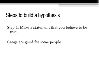 Creating a Thesis/ Hypothesis
