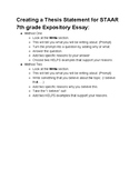 Creating a Thesis Statement for an Expository Essay 7th grade STAAR