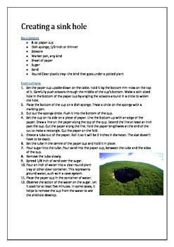 Creating a sink hole - science experiment
