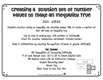 Creating a  solution Set of Values to Make an Inequality True  CCSS:  6.EE.B.5