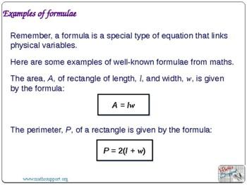 Creating algebraic expressions and formulae