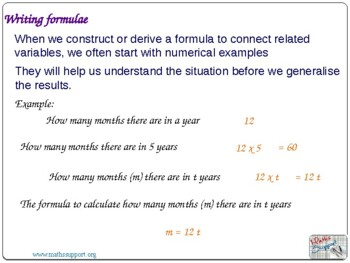 Creating algebraic expressions and formulae