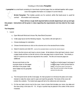 Creating an Information pamphlet with Word
