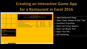 Creating an Interactive Game App for a Restaurant In Excel 2016