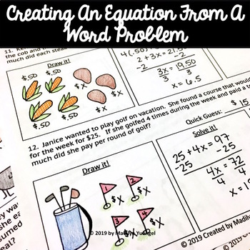 Creating and Solving Linear Equations Word Problems