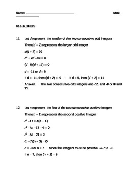 Creating and Solving Quadratic Equations (Number Problems)