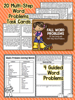 Fall Word Problems Task Cards and Practice