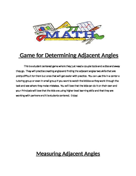Creating angles and determining adjacent angles