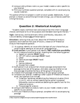 Creating the AP Synthesis, Rhetorical Analysis, & Argument Questions