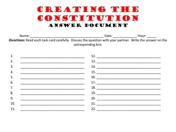 Creating the Constitution Task Cards