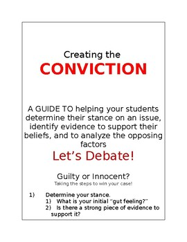 Creating the Conviction: An Outline for Debate