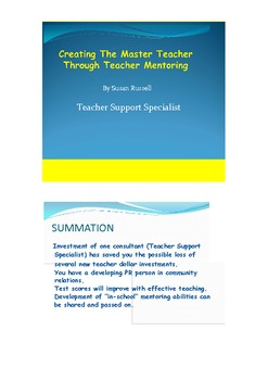 Creating the Master Teacher with a Teacher Support Specialist