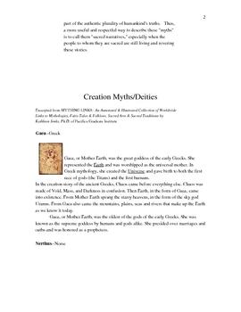 Creation Myths/Deities Handout--World Mythology 4 pages