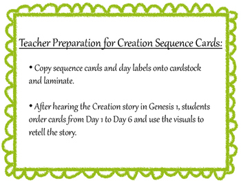 Creation Sequence Cards