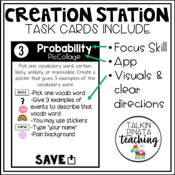 Creation Station iPad Task Cards {Probability & Graphing}