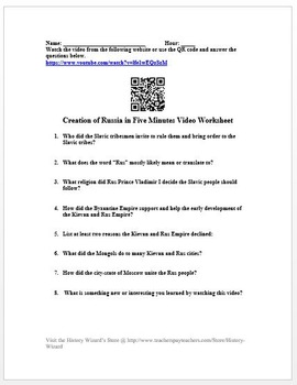 Creation of Russia in Five Minutes Video Worksheet
