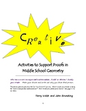 Creative Activities to Support Proofs in Middle School Geometry
