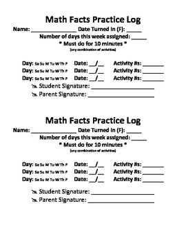 Creative Activities to practice Math Facts