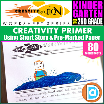 Short Creativity Prompts for K-2nd Grade, Includes Social Emotional Story Sheets