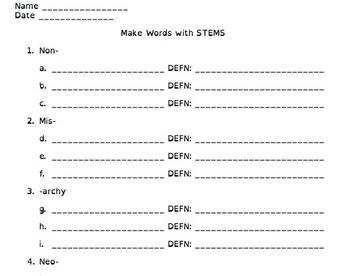 Creative Affixes Activity--Make Words