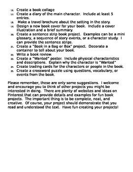 Creative Book Project/ Book Report List