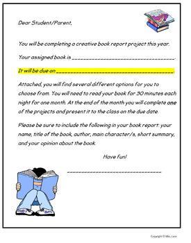 Creative Book Report Handouts
