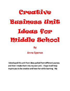 Creative Business Unit Ideas for Middle School