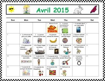 Creative Calenders en Francais!: Le mois d'avril