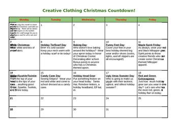 Creative Christmas Clothing Calendar