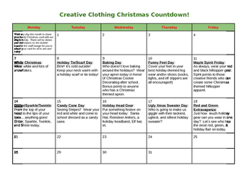 Creative Christmas Clothing Calendar