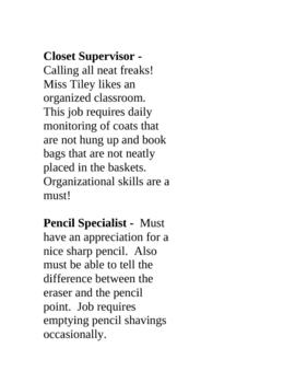 Creative Classroom Jobs