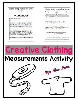Creative Clothing Measurements Activity