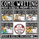 Comics Digital Writing Prompts 3rd Grade, 4th Grade Bundle for Google Classroom