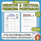 Creative & Critical Thinking Worksheets for Higher Level Thinking Skills