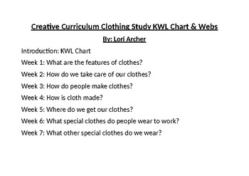 Creative Curriculam Clothes Study: Webs and KWL Chart